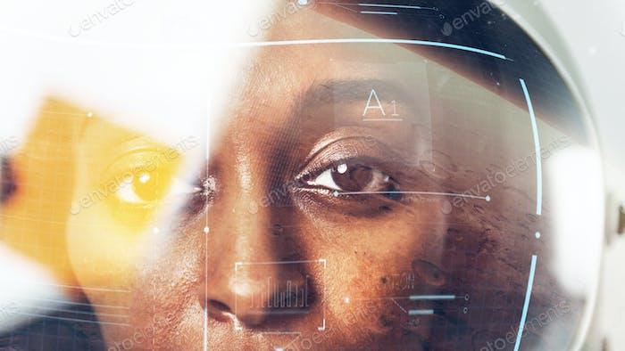 Female astronaut with glass helmet