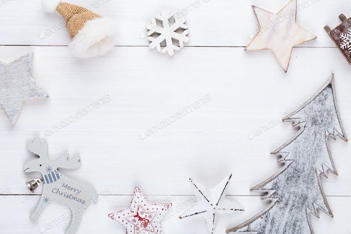 Fondo de Navidad en decoración de Navidad, ornamento estilo vintage. Tarjeta de felicitación.