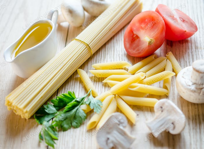 Spaghetti and penne with pasta ingredients