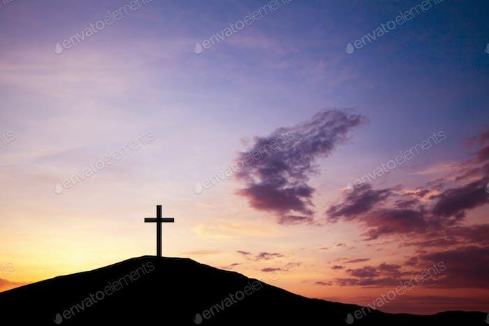 Das Kreuz auf dem Hügel, Jesus Christus aus der Bibel. Ostern, Religion. Erlösung der Sünden, Opfer