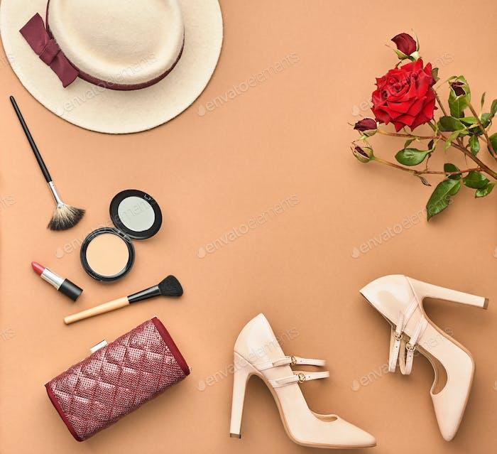 Fashion Stylish Set. Top view. Essentials Cosmetic