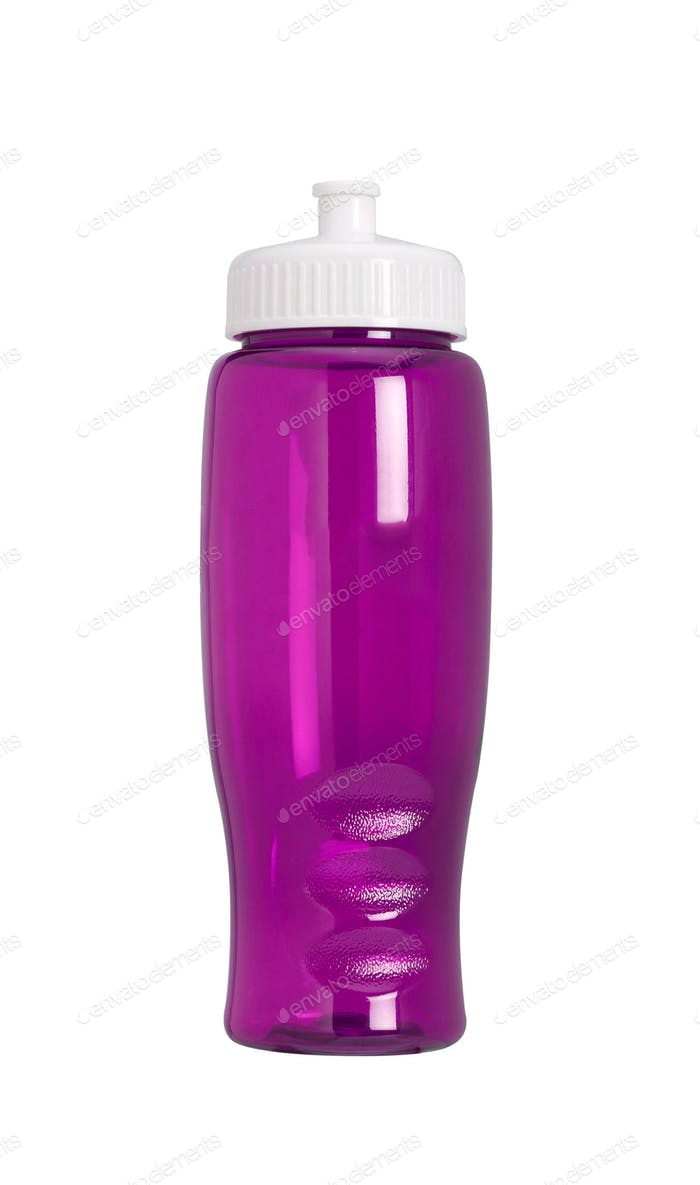 Pink sports bottle isolated on white