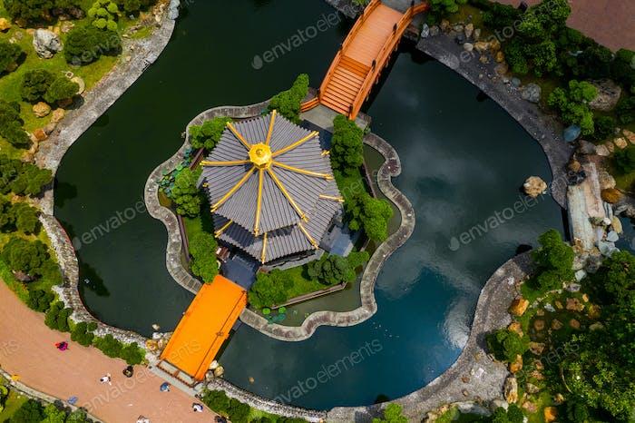 Diamond Hill, Hong Kong 16 May 2019: Top view of Hong Kong chi lin nunnery