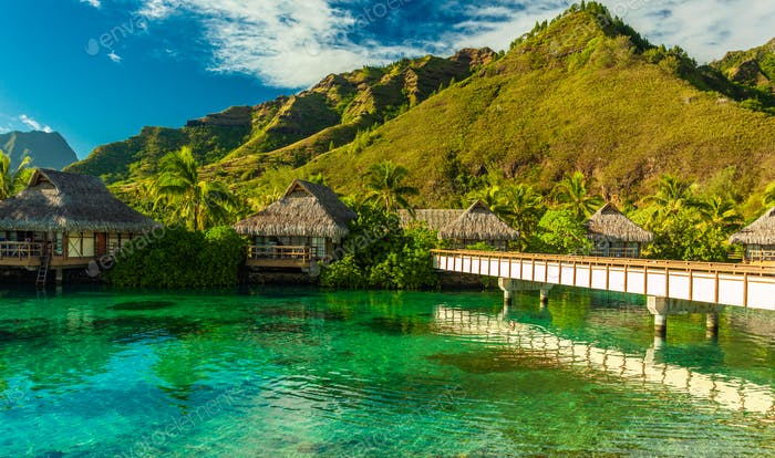 Tropical resort with amazing lagoon on Moorea, French Polynesia