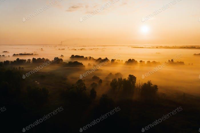 erstaunliche Sonnenaufgang in der Landschaft über Waldflächen und Felder. Erstaunliche Morgenröte in der Ukraine und