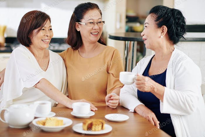 Senior friends drinking tea