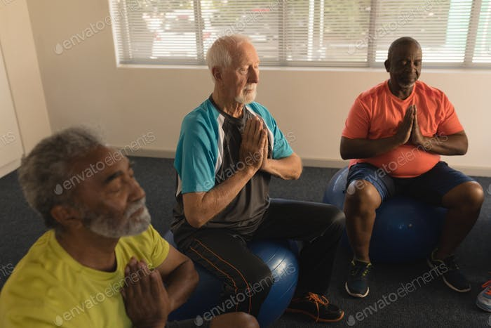 Side view of group of active senior men performing yoga doing ball exercice at home