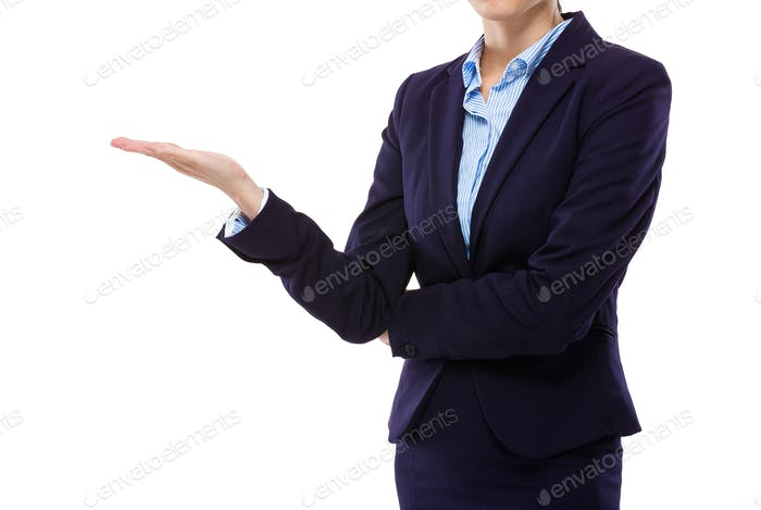 Businesswoman with hand showing blank sign