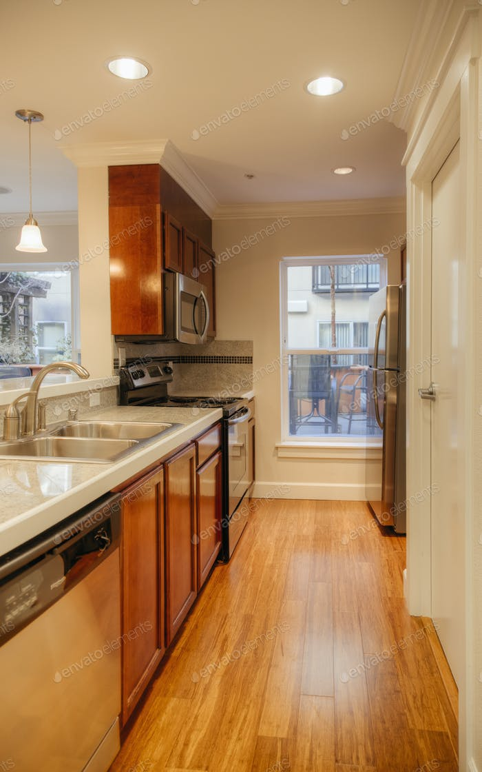 55043,Countertops and sink in modern kitchen