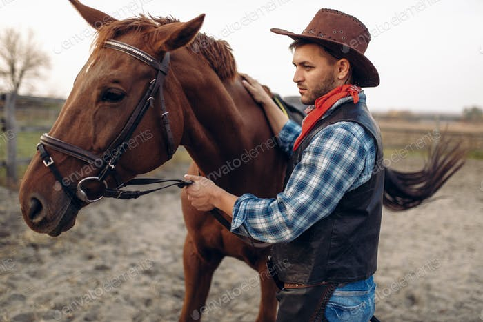 Cowboy poses with horse on texas ranch, wild west