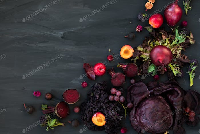 Collection of Fresh Purple Fruits and Vegetables