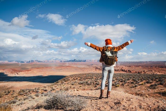 Happy hiker in the desert