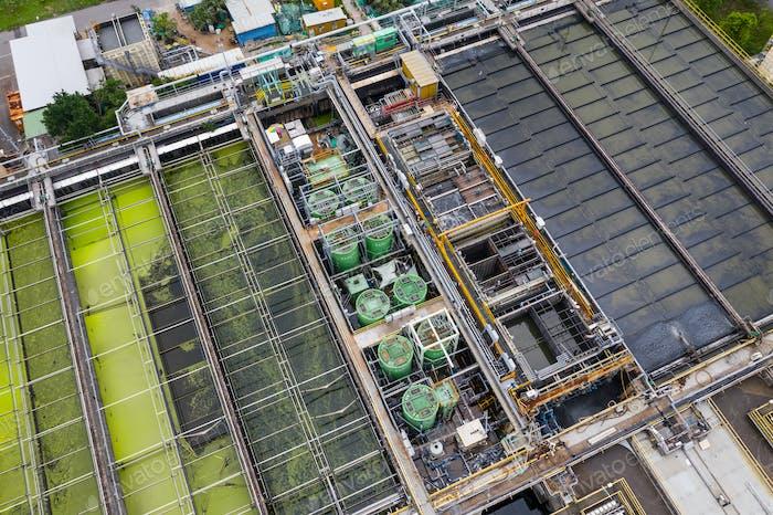 Sha Tin, Hong Kong 17 March 2019: Top view of Hong Kong Sewage treatment plant