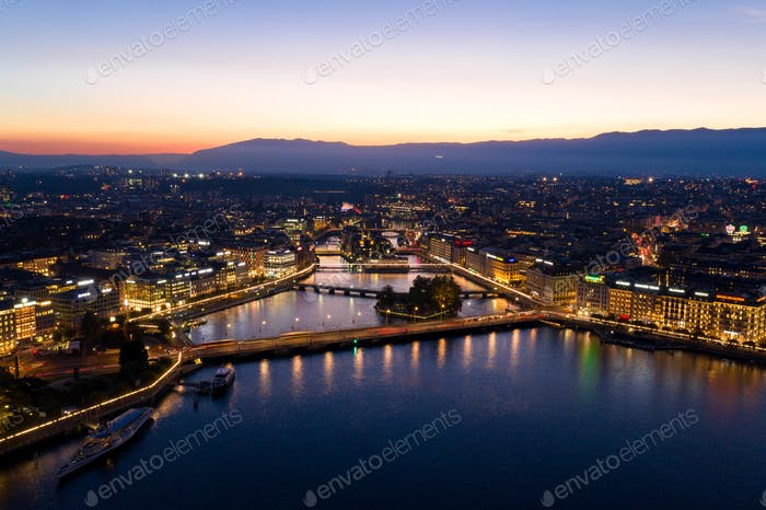 Aerial  night view of Geneva city waterfront skyline in Switzerl