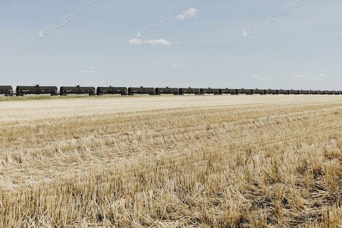 Ölzugwagen und Brachland, in der Nähe von Swift Current, Saskatchewan, Kanada.