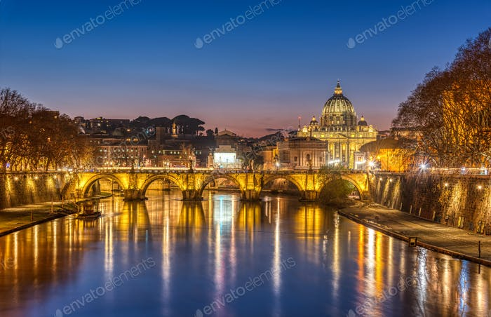 The Tiber river and St. Peters Basilica