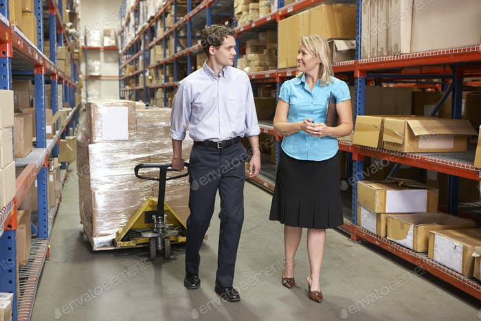 Businesswoman And Colleague In Distribution Warehouse
