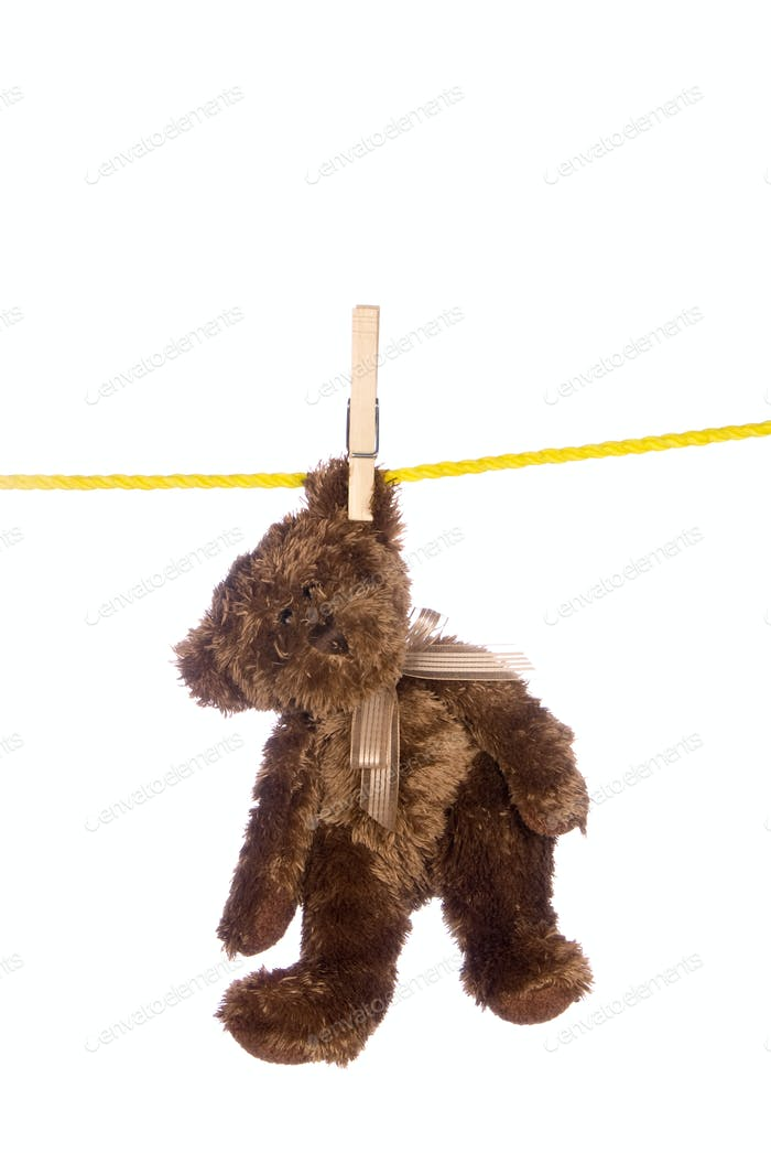 Teddy bear hanging from a clothesline