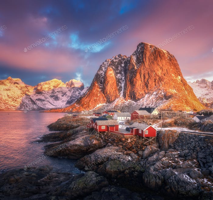 Hamnoy village on the hill at sunrise. Lofoten islands, Norway