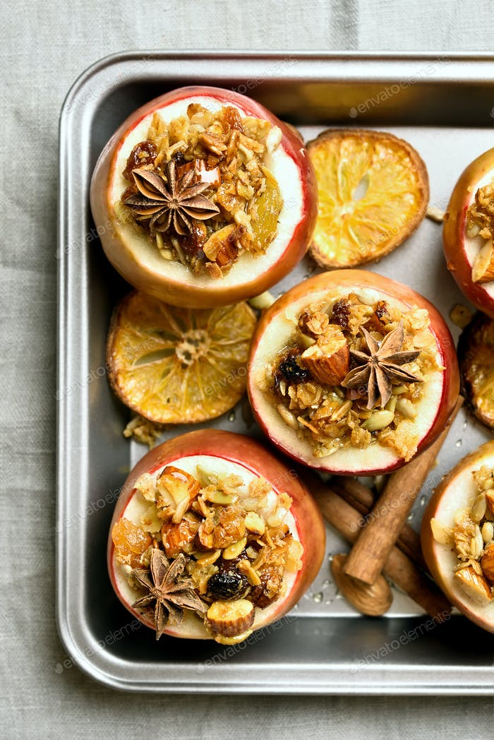 Baked apples with granola, top view