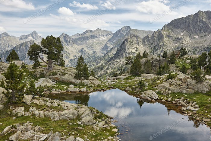 Aigues tortes national park mountain landscape. Estany dAmitges. Spain