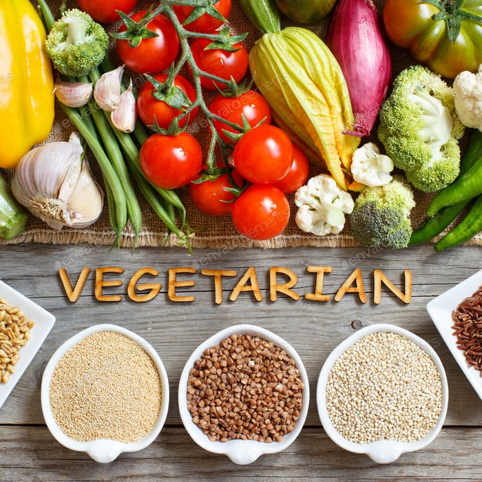 Fresh vegetables and cereals with word Vegetarian