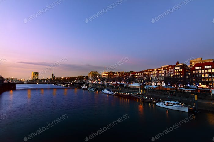 Weser river in Bremen by night