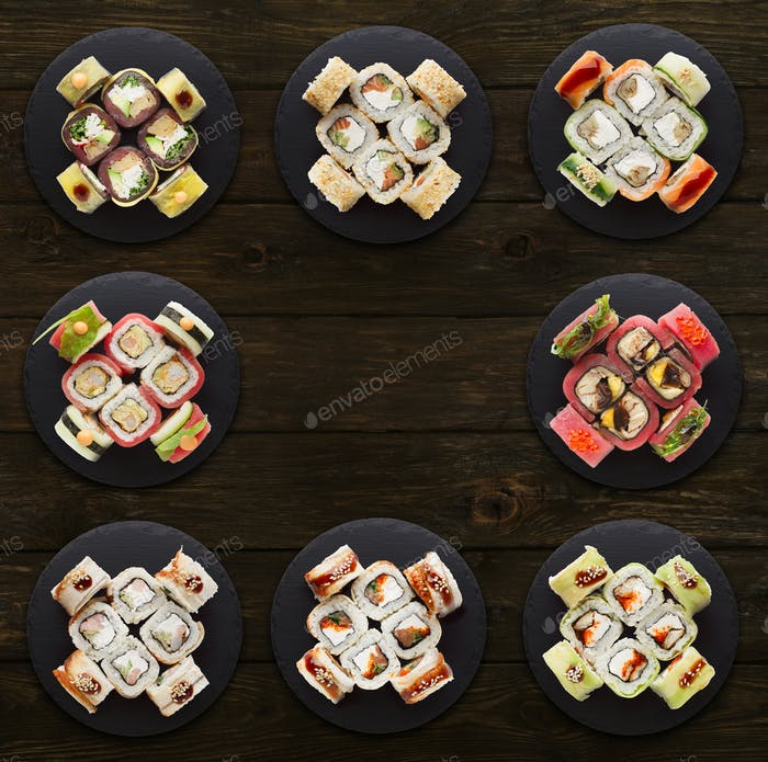 Collage of assorted sushi sets