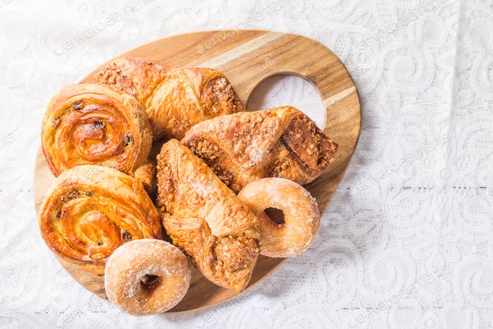 Breakfast with different French Pastries