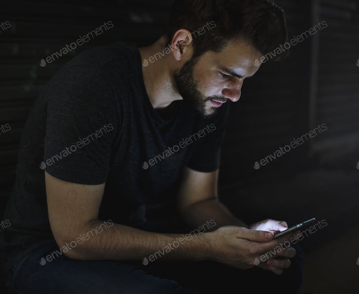 Adult Man Using Mobile Device Social Network