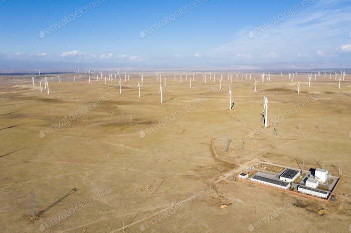 aerial view of wind farms, xinjiang, China