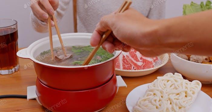 Chinese hot pot dinner