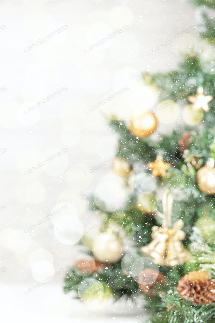 Christmas card backdrop with decorated fir tree