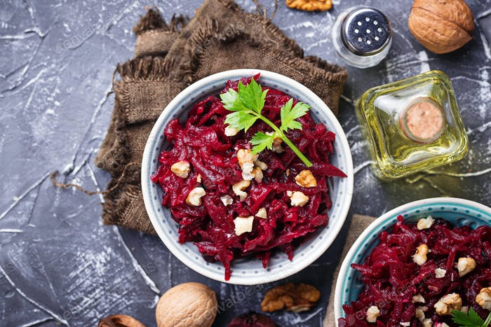 Healthy vegan beetroot salad with walnuts