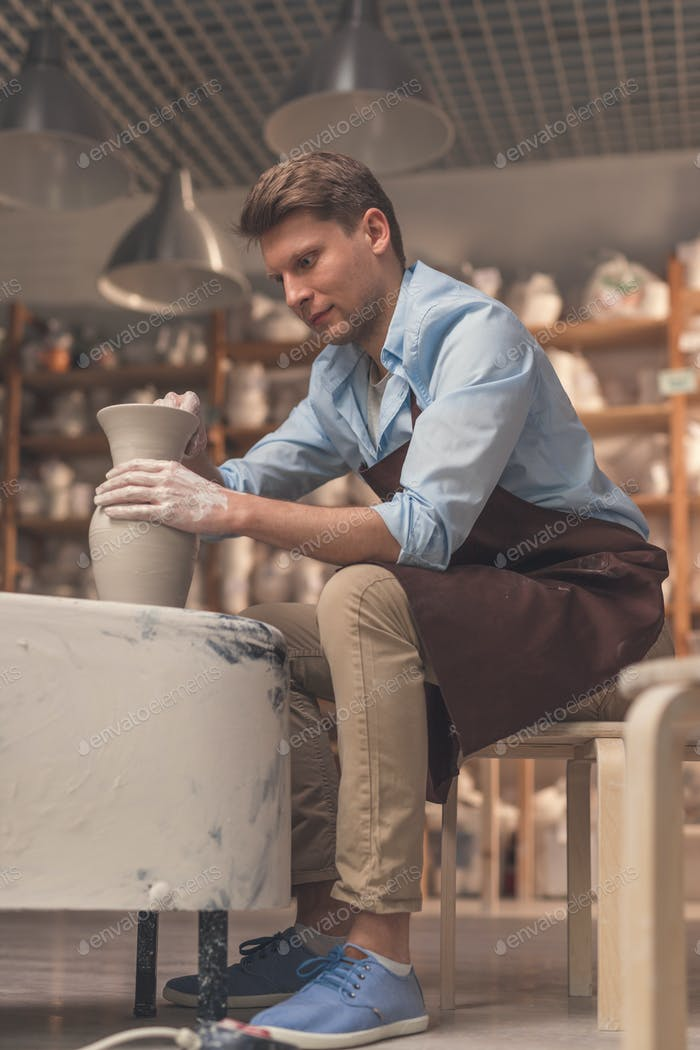Young man in apron