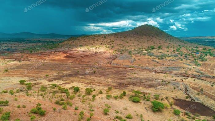 aerial landdcape of the masaai land in Tanzania,