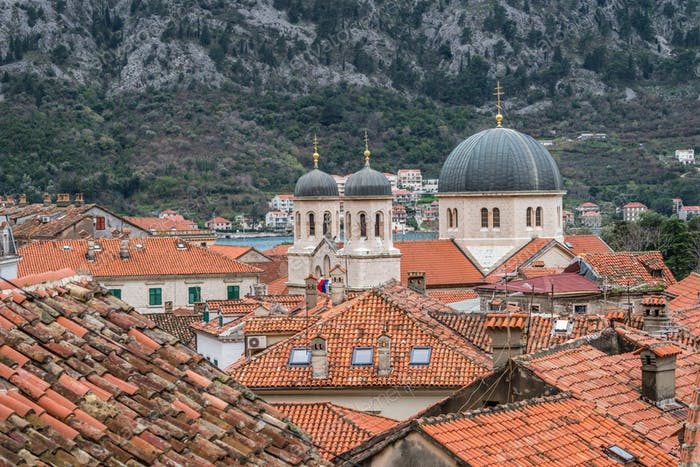Red tiled rooftops in Kotor