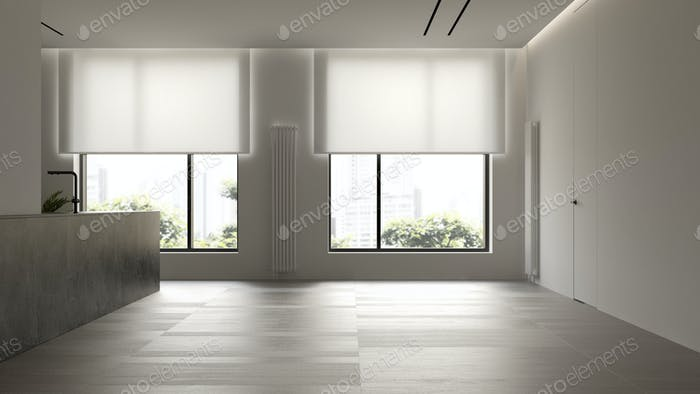 Interior of empty modern living room 3D rendering