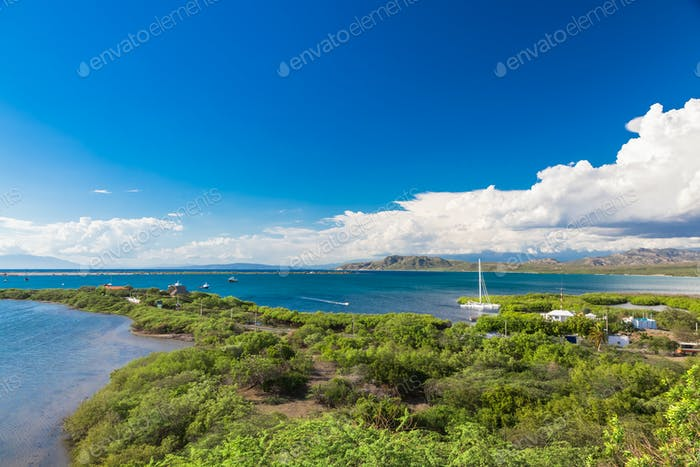 Panoramic View of Caribbean coast and mountains