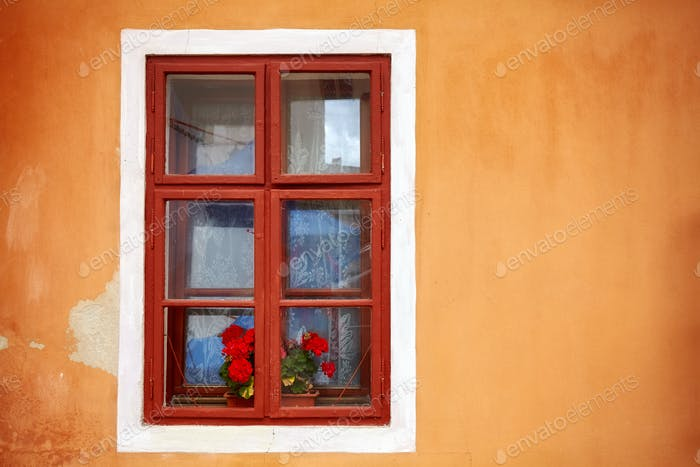 An old window with red flowers in orange wall.