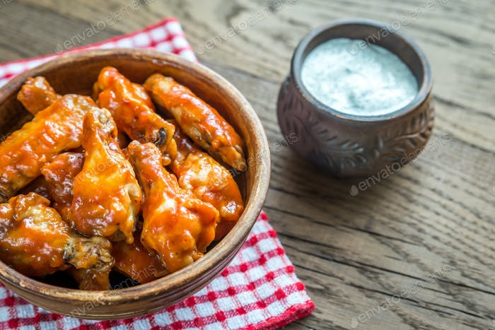 Bowl of buffalo chicken wings