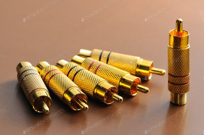 RCA component with a gold covering