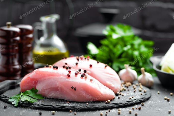 Raw chicken breasts, fillets