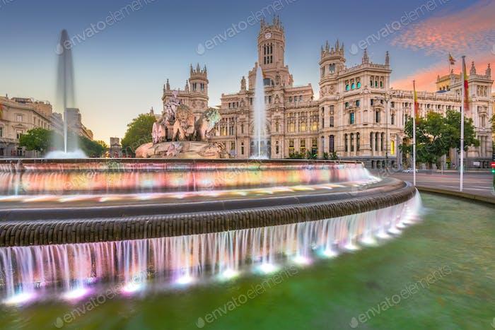 Madrid, Spanien an der Plaza de Cibeles.