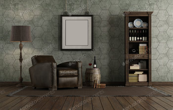 Retro style living room with leather armchair and bookcase