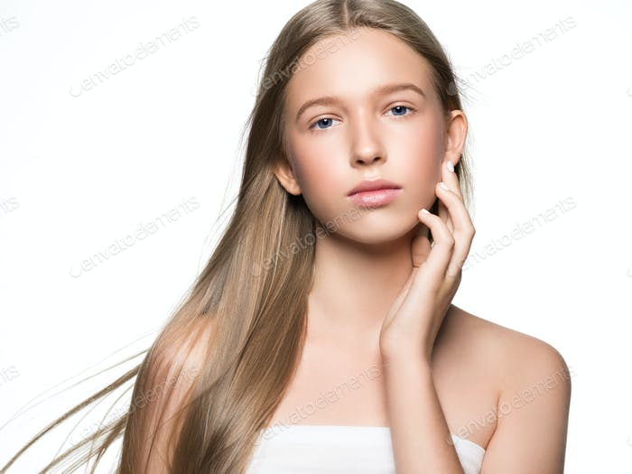 Long smooth hair clean skin girl healthy skin care natural makeup female portrait isolated on white