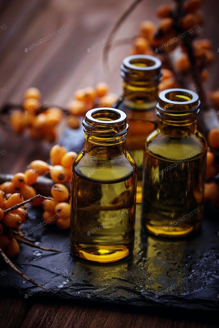 Sea buckthorn  oil in small bottles
