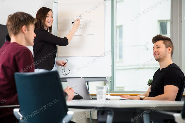 Businesswoman Giving Presentation While Looking At Colleagues Di