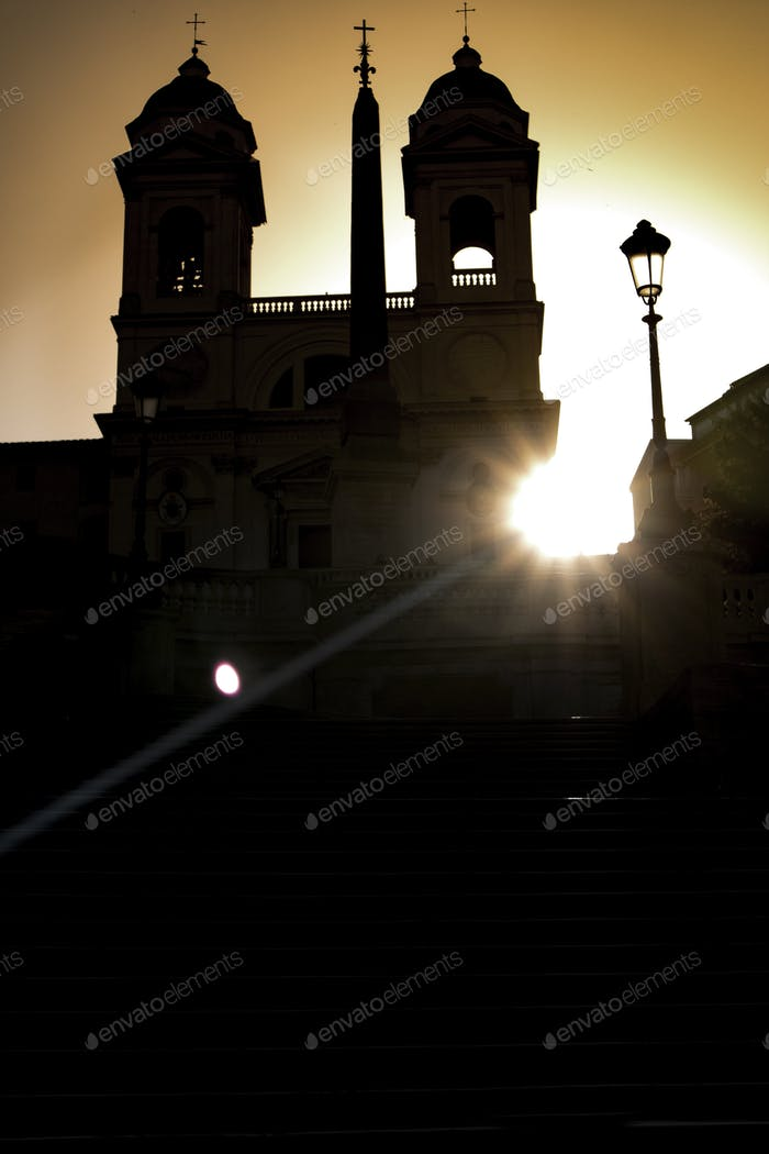 Plaza of Spain in silhouette