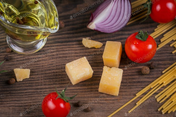 Ingredients for cooking spaghetti